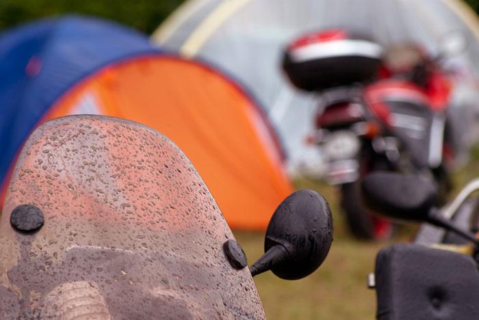 Rainy camping day