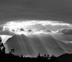 sun rays on a mountain
