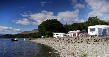 Our caravan pitches by Loch Lomond