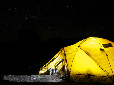 tent with light on at night